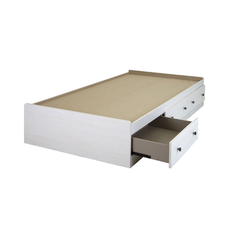 Country Poetry Mate's Platform Storage Bed with 3 Drawers- White Wash