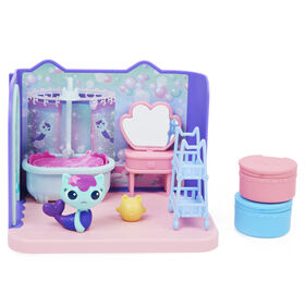 DreamWorks Gabby's Dollhouse, Primp and Pamper Bathroom with MerCat Figure, 3 Accessories, 3 Furniture and 2 Deliveries
