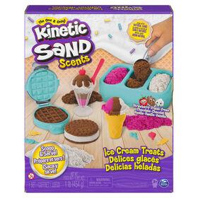 Kinetic Sand Scents, Coffret Ice Cream Treats contenant 3 couleurs de sable parfumé entièrement naturel et 6 outils de service