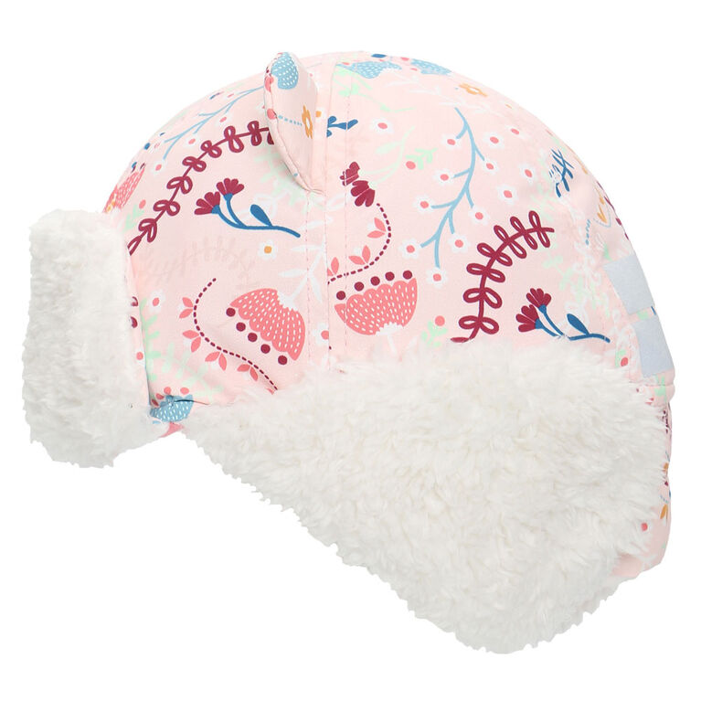 FlapJackKids - Baby, Toddler, Kids, Girls - Water Repellent Trapper Hat - Sherpa Lining - Floral Pink - Large 4-6 years