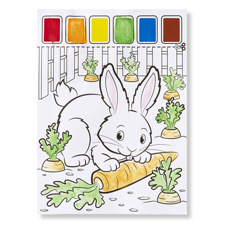 Melissa & Doug Paint With Water - Farm Animals, 20 Perforated Pages, Spillproof Palettes