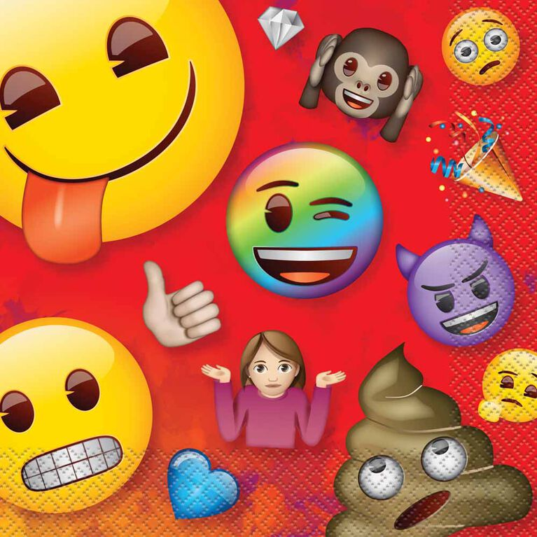 Rainbow Emoji Luncheon Napkins, 16 pieces