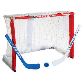 Cage de gardien de but de mini-hockey Plier-et-Emporter avec bâton de Franklin Sports NHL