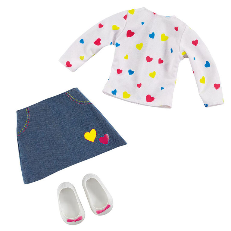 B Friends Pop Heart T-Shirt and Skirt Fashion Outfit for 18-inch Doll - R Exclusive