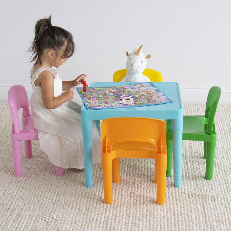 Humble Crew Modern Brights ensemble table et 4chaises de conception légère pour enfants, plastique