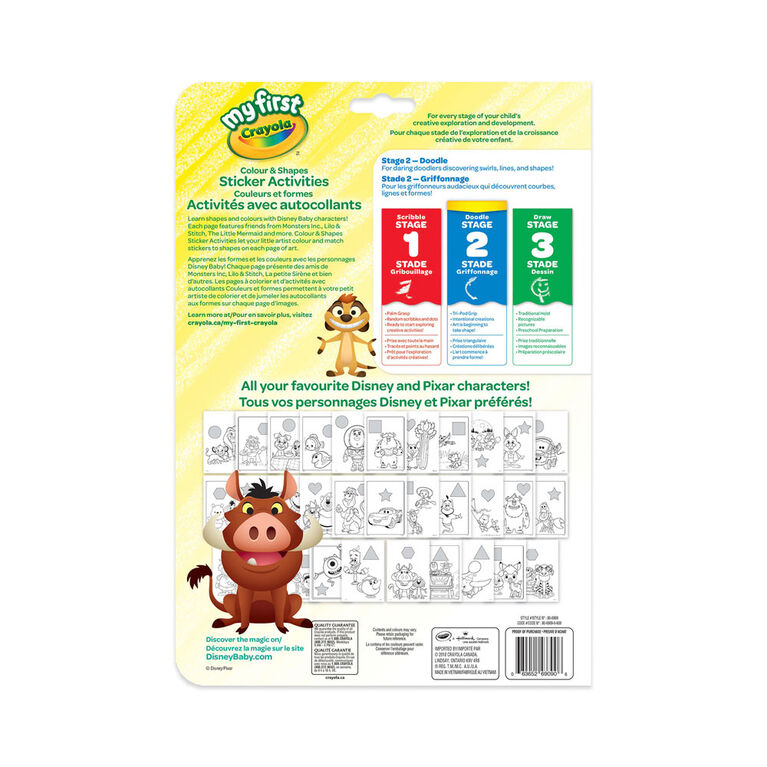 My First Crayola Colour & Shapes Sticker Activity Book, Disney Baby