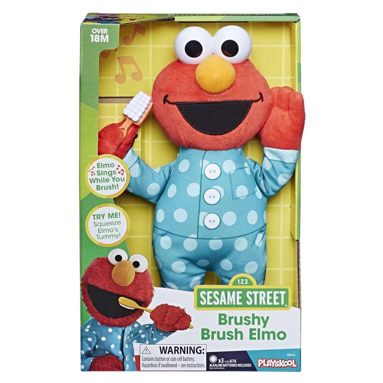 Sesame Street - Brushy Brush Elmo 12-inch Plush - English Edition
