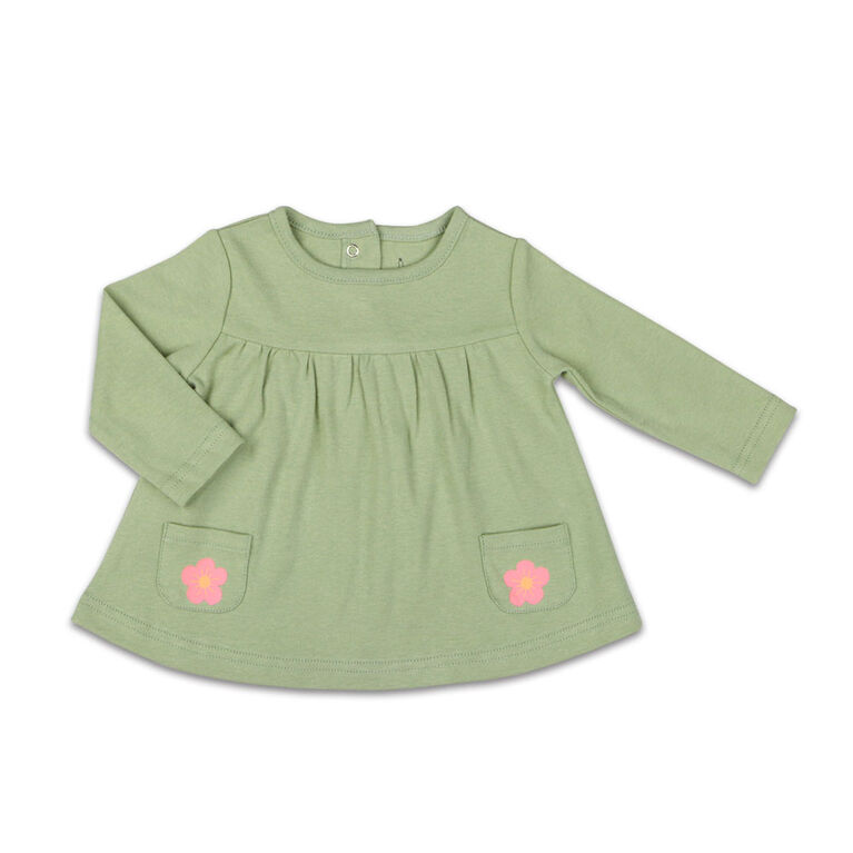 The Peanutshell Baby Girl Layette Mix & Match Sage Flower Long Sleeve Shirt with Pocket - 6-9 Months