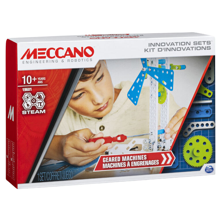 Meccano, Set 3, Geared Machines STEAM Building Kit with Moving Parts