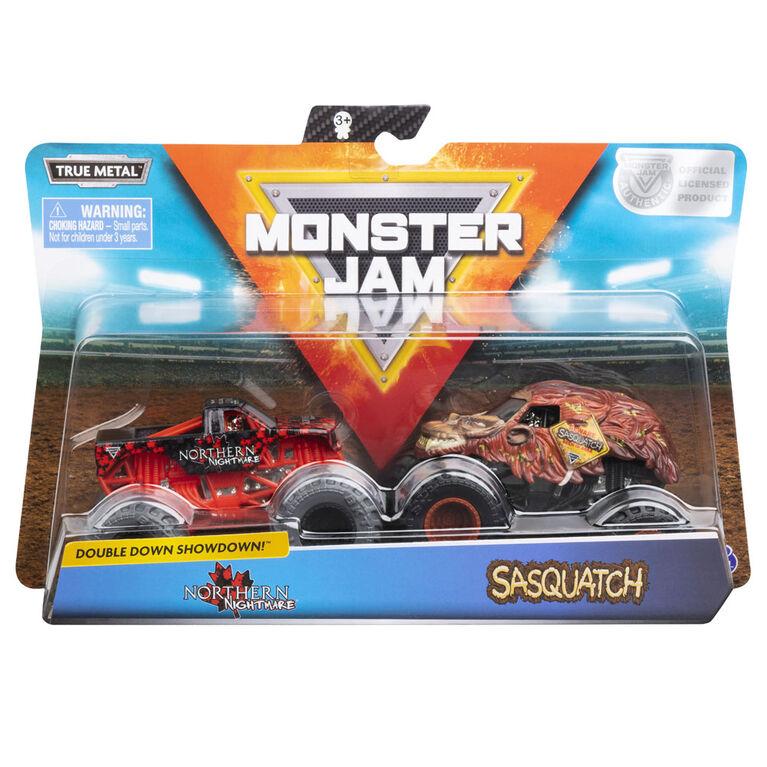 Monster Jam, Official Northern Nightmare vs. Sasquatch Die-Cast Monster Trucks, 1:64 Scale, 2 Pack