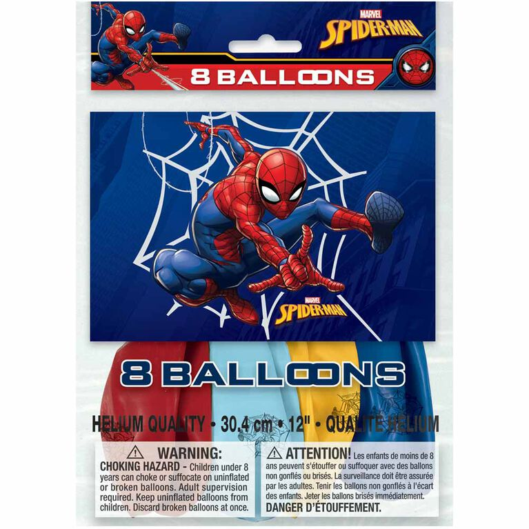 """Spider-Man 12"""" Latex Balloons, 8 pieces"""