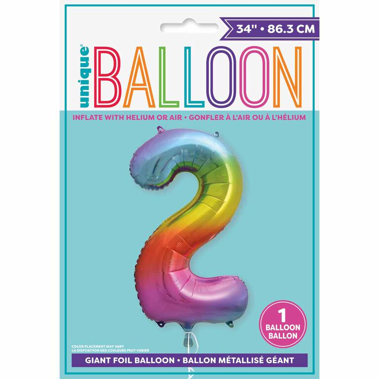 """Rainbow Number 2 Shaped Foil Balloon 34"""""""