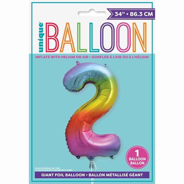 "Ballon en aluminium en forme de nombre arc-en-ciel 34 "" - 2"