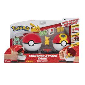 Pokémon Surprise Attack Poke Ball Battle Game W1 - Pikachu #2 w/ Quick Ball vs. Bulbasaur #3 w/ Poke Ball