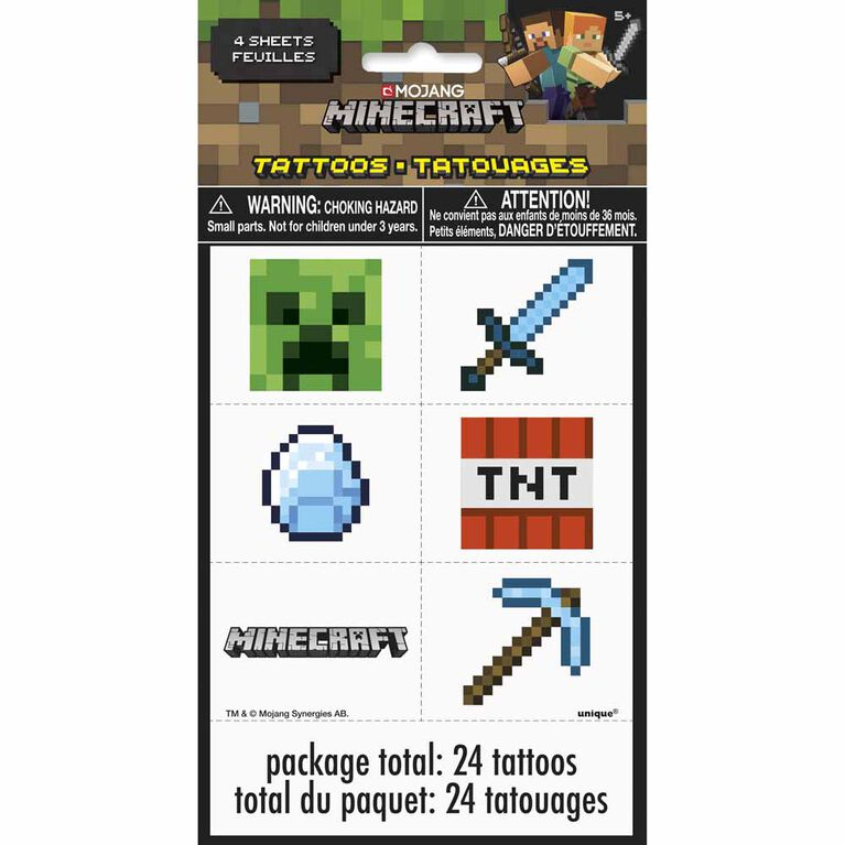 Minecraft Color Tattoo Sheets 4 pieces