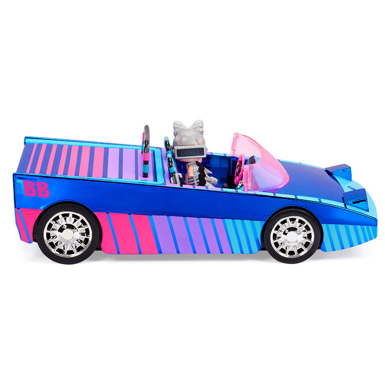 LOL Surprise Dance Machine Car with Exclusive Doll, Surprise Pool and Dance Floor, Multicolor and Magic Blacklight