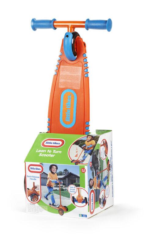 Little Tikes - Trottinette à diriger avec poignée amovible – orange/ bleu