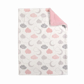 Baby's First By Nemcor Ultimate Sherpa Baby Blanket- Pink Cloud Design