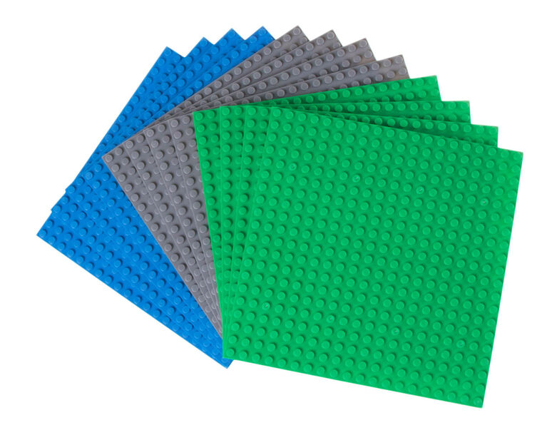 "Strictly Briks - Stackable Baseplates - 6"" x 6"" - 20 x 20 pegs - 12 Baseplates - Blue, Gray, Green"