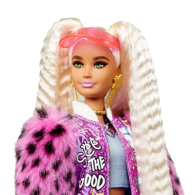 Barbie Extra Doll #8 in Varsity Jacket with Furry Arms and Pet Teddy Bear
