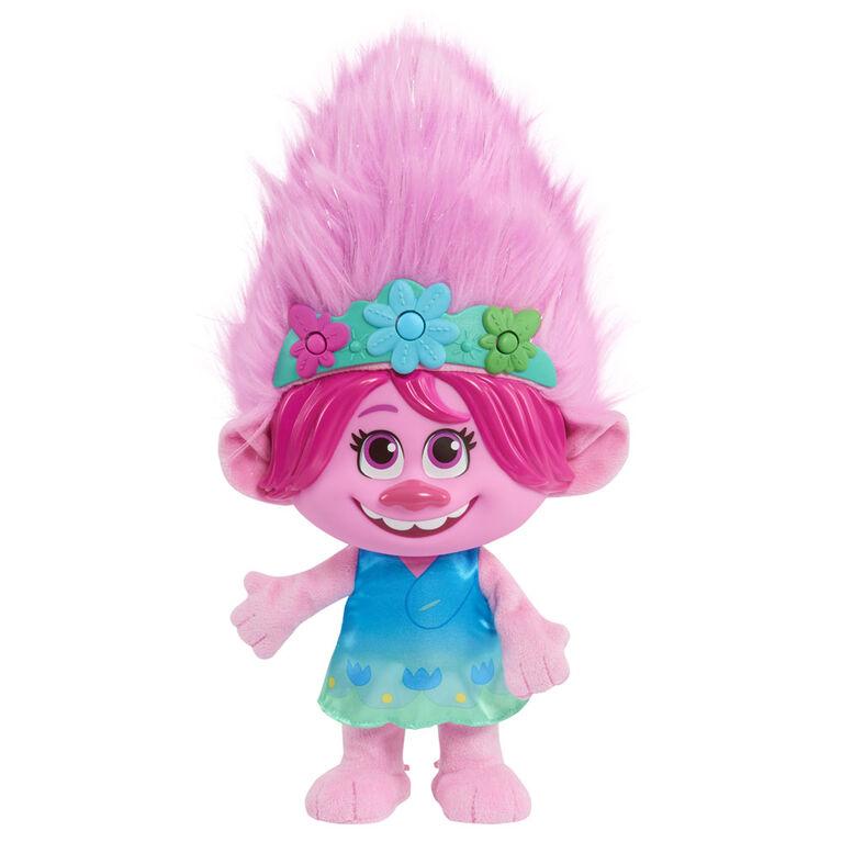 Peluche à Effets Sonores de Poppy Jaillissante En Couleur de Trolls World Tour de DreamWorks - Édition française