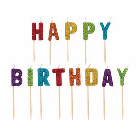 "Rainbow ""Happy Birthday""Letter Candles - English Edition"