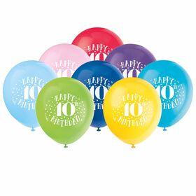 "Fun ''Happy 10th Bday'' 12"" Latex , 8 pieces - English Edition"