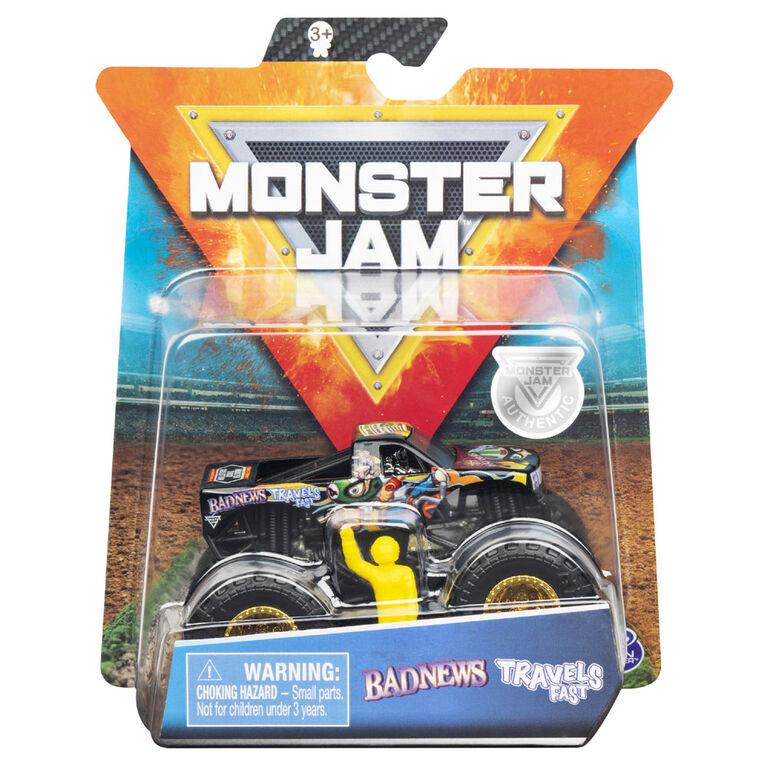 Monster Jam, Monster truck authentique Bad News Travels Fast en métal moulé à l'échelle 1:64, série Arena Favorites