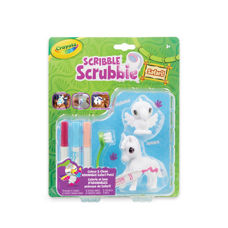 Crayola Scribble Scrubbie Safari Animals 2-Pack Zebra & Bird