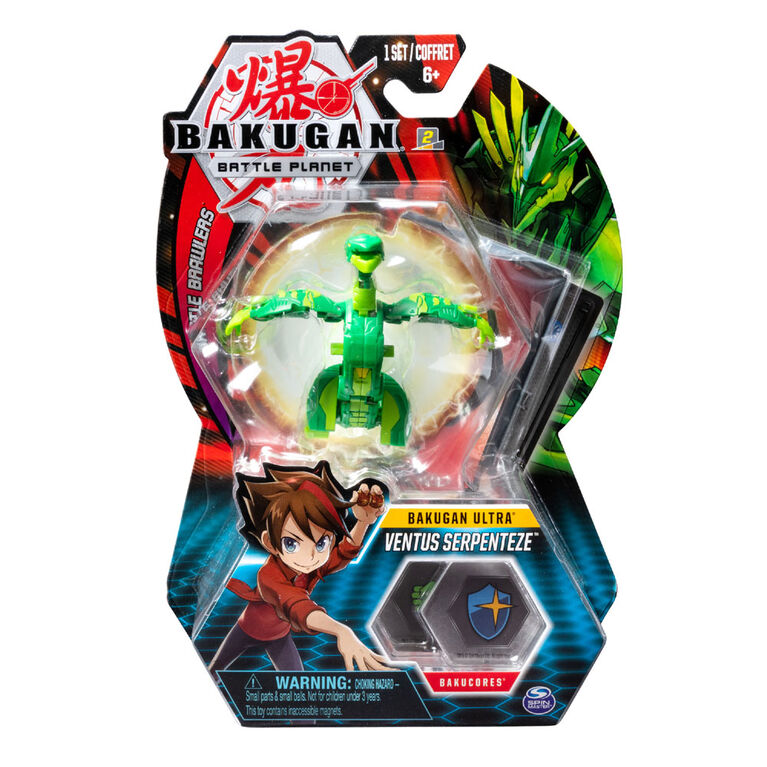 Bakugan Ultra Ball Pack, Ventus Serpenteze, 3-inch Tall Collectible Transforming Creature