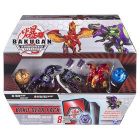 Bakugan Baku-Gear, Coffret de 4 personnages, Trox Ultra avec équipement Baku-Gear et Pegatrix Ultra, Figurines articulées à collectionner