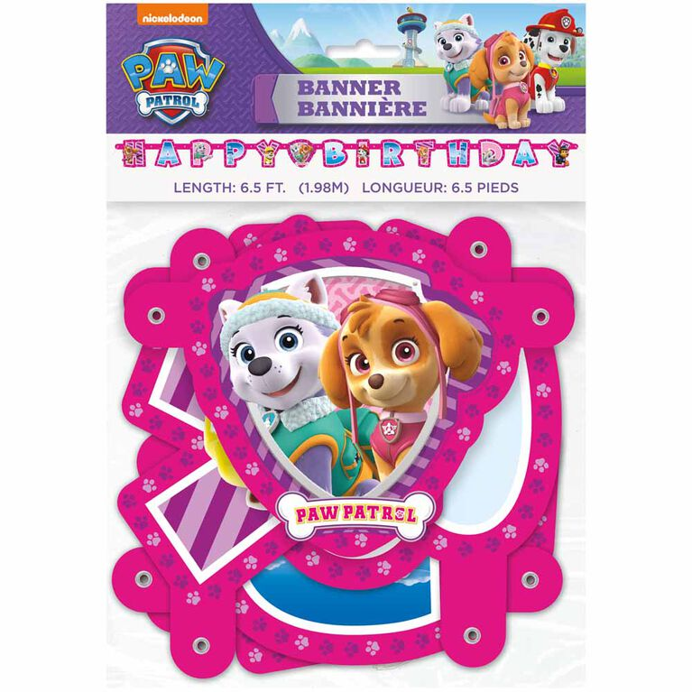 Paw Patrol Pink Large Jointed Banner - English Edition