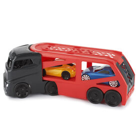 Little Tikes Big Car Carrier red and black plus 2 race cars - R Exclusive