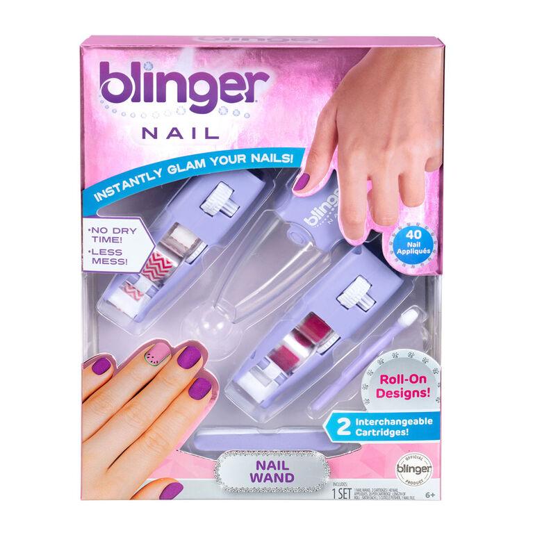 Blinger Nail Wand - Chevron & Pink Glitter