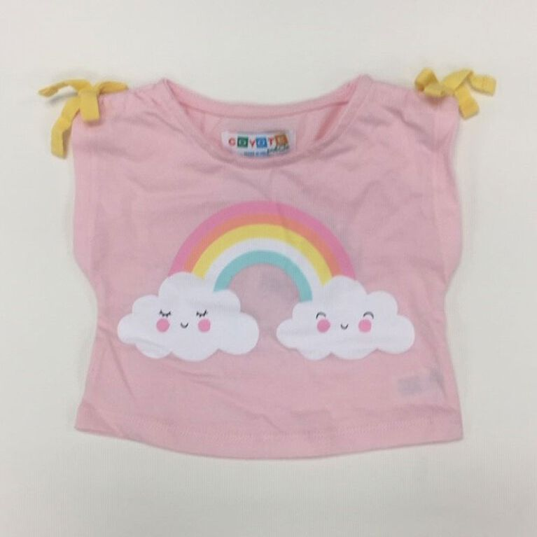 Coyote and Co. Pink tee with Rainbow print - size 6-9 months