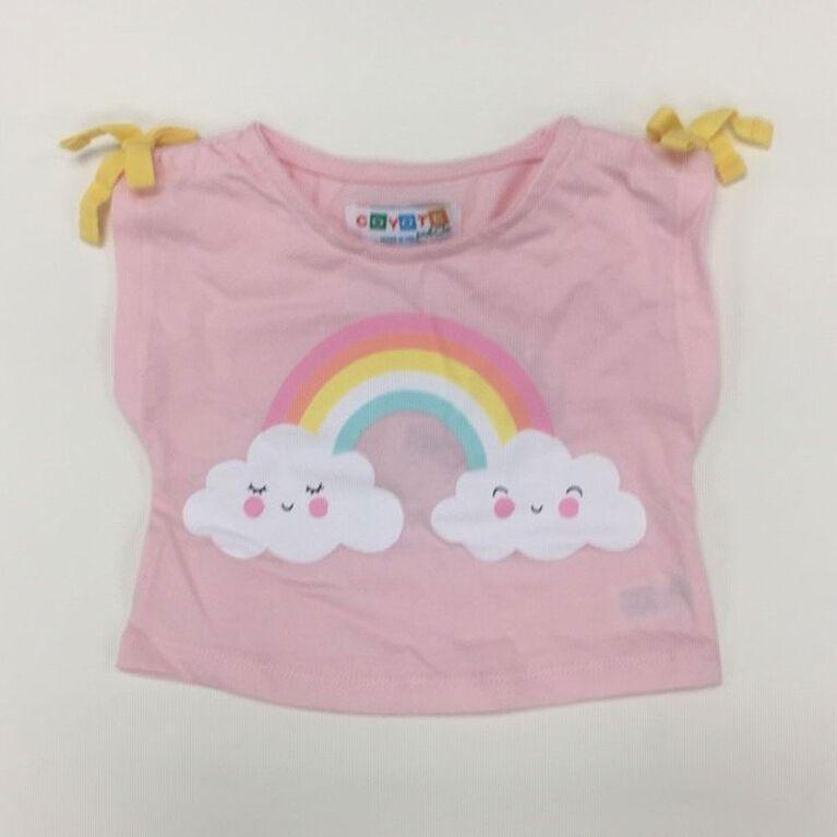 Coyote and Co. T-shirt à imprimé d'arc-en-ciel - Rose - de 6 à 9 mois.