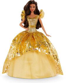 Poupée Barbie Signature Joyeux Noël 2020 (30 cm, Longs Cheveux Bruns) en Robe Dorée