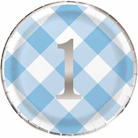 "Blue Gingham 1st Bday 9""  Plates 8 pieces"