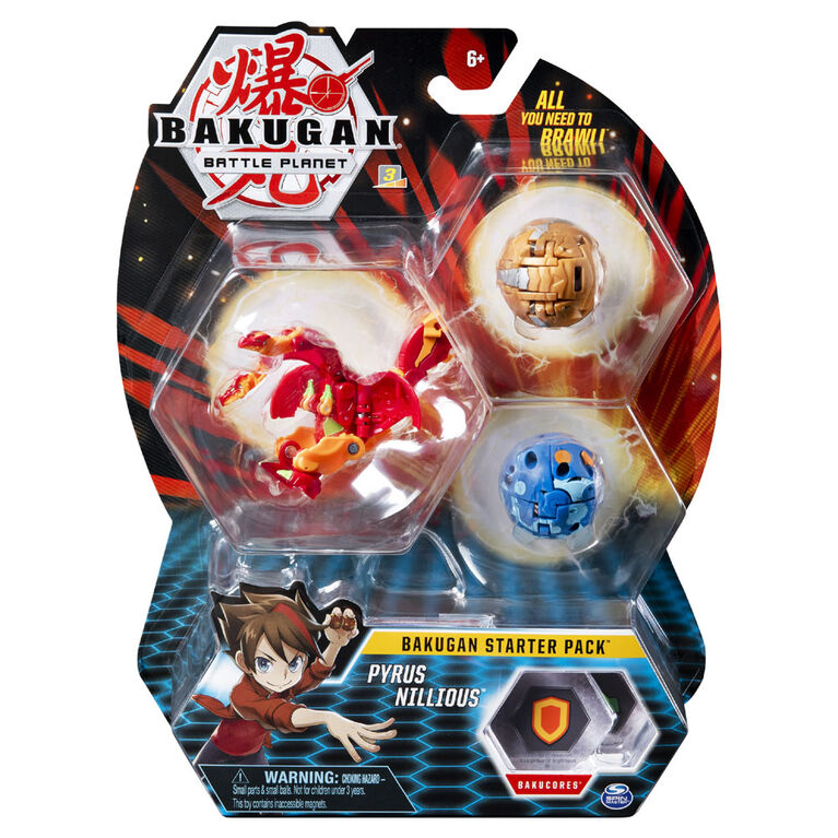 Bakugan Starter Pack 3-Pack, Pyrus Nillious, Collectible Action Figures