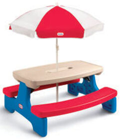 Little Tikes - Easy Store - Large blue & red Picnic Table with Umbrella