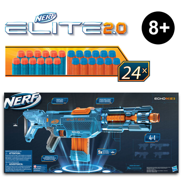 Nerf Elite 2.0 Echo CS-10 Blaster -- 24 Official Nerf Darts, 10-Dart Clip, Removable Stock and Barrel Extension, 4 Tactical Rails