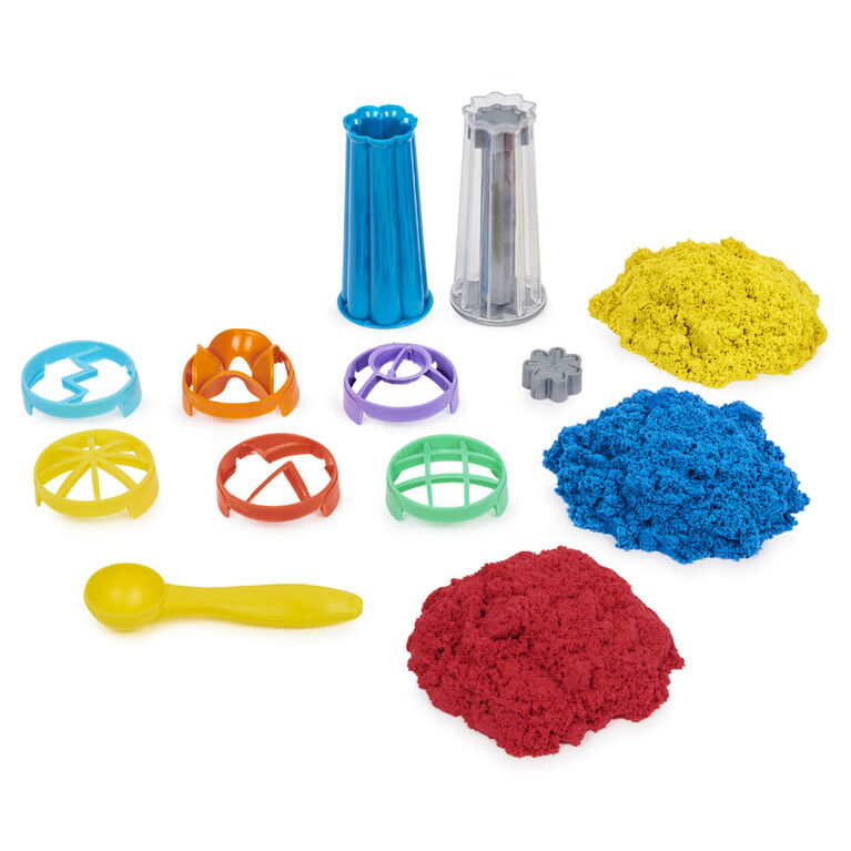 Kinetic Sand, Sandwhirlz Playset with 3 Colors of Kinetic Sand (2lbs) and Over 10 Tools
