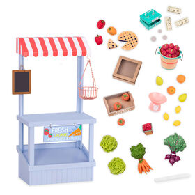 Our Generation, Farmer's Market Set, Play Food Stand for 18-inch Dolls