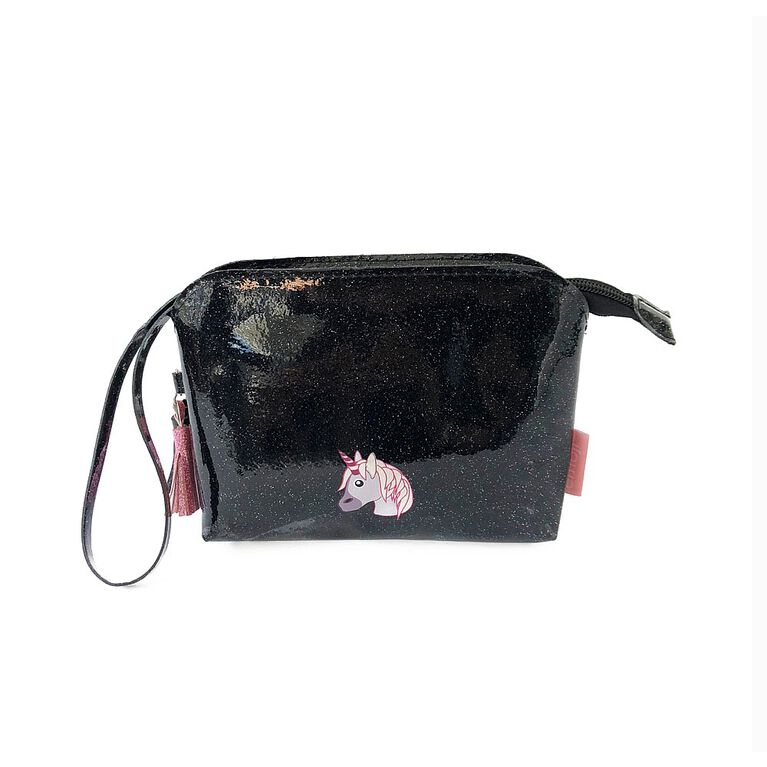 Non-Leather Glitter Pouch Wristlet with tassles