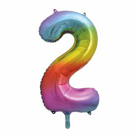 Rainbow Number 2 Shaped Foil Balloon 34""