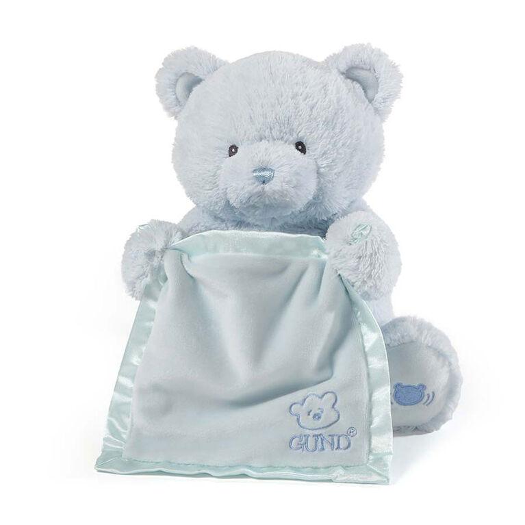 Baby GUND Peek-A-Boo My 1st Teddy Blue Bear Animated Plush Stuffed Animal, 11.5 Inch - English Edition