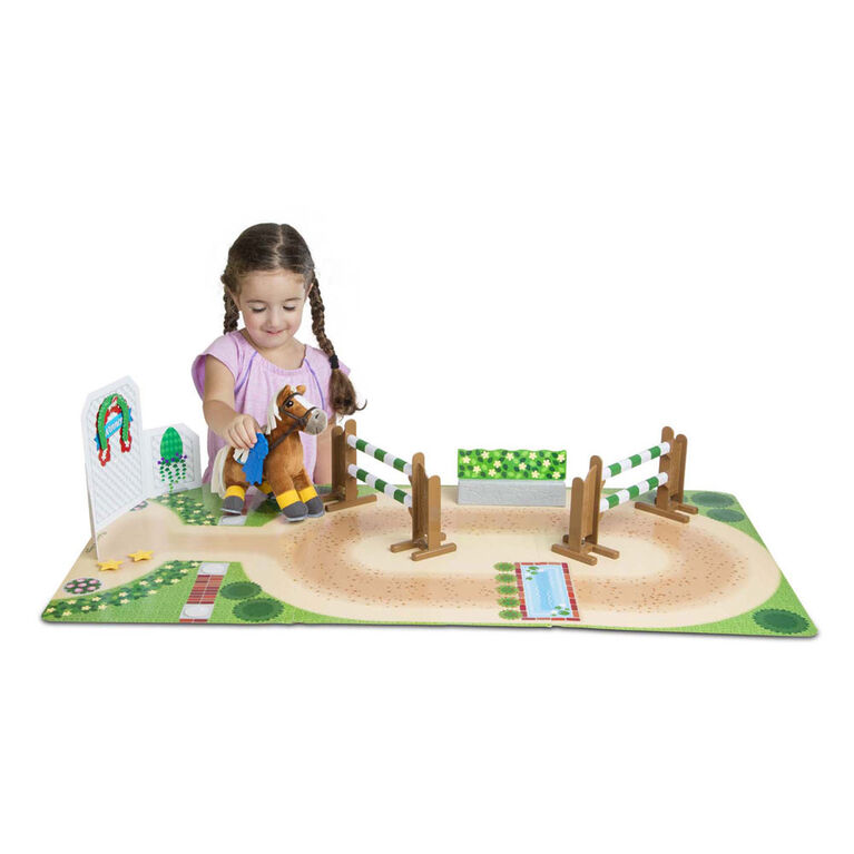 Melissa & Doug Train & Jump Horse Show Play Set With Plush Stuffed Animal