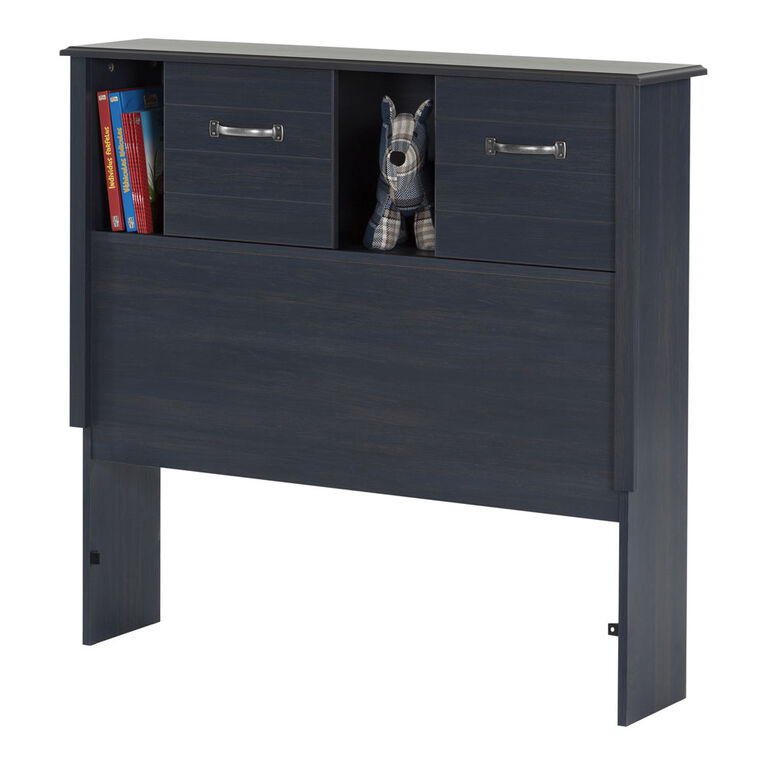 Ulysses Bookcase Headboard with Storage and Sliding Doors- Blueberry