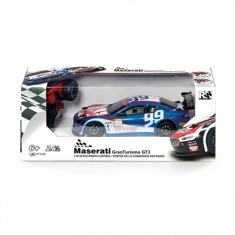 Voiture téléguidée 1/16 Maserati Granturismo GT3 - Bleu - Notre exclusivité