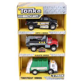 Tonka Minis 3 Pack - Garbage Truck / Tow Truck / Highway Patrol Pickup Truck